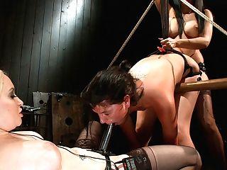 Aiden Starr  Bobbi Starr  Isis Love  Cassandra Nix In Cassandra Get A Hard Sign Off From An Electric-lez Belt Dick - Electrosluts