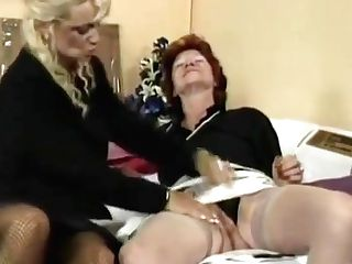 Granny Fucks Her Girl-on-girl Friend's Beaver With Strap On Dildo