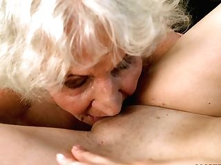 Youthful Dark-haired Linda Love Is Slurping Hideous Hairy Snatch Of Old Lesbo Gf