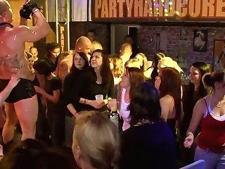 Greedy For Knob Bitches Are Sucking Stripper's Dick In Public