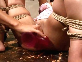 Many Bright Hot Lesbo Force Faux-cock Fuck A Hot Stunner