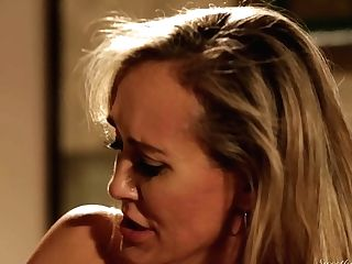 Blonde Julia Ann With Big Knockers Is Nosey About Tonguing Brandi Love's Lesbo Sweet Love Box